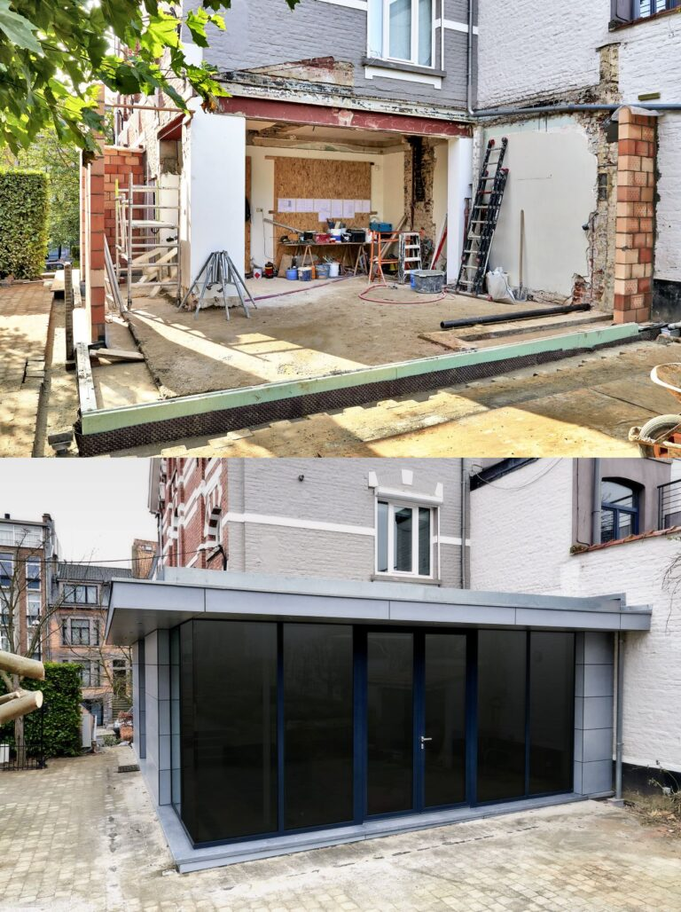 house extension in progress and completed